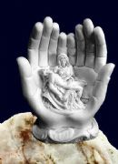 Alabaster La Pieta Statue Of The Virgin Mary Holding Jesus Religious Ornament
